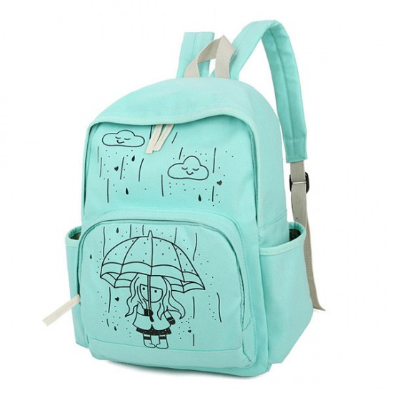 Casual Students Canvas Backpack Large Capacity Durable School Bag for Teenager