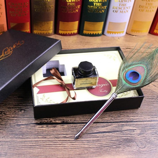 0.5mm Fine Nib Peacock Feather Quill Dip Pen Writing Ink Set Stationery With Box Gift /Ink Bottle