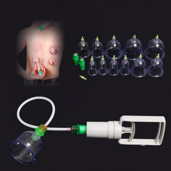 12 Cups Vacuum Megnetic Therapy Tools Massage Acupuncture Cupping Kits Set