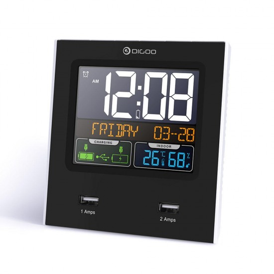 Digoo DG-C3X Time Calendar 12hr/24hr Format Switchable Temperature Humidity Display Dual Alarms Snooze Function NAP LED Backlight Alarm Clock with 2 USB
