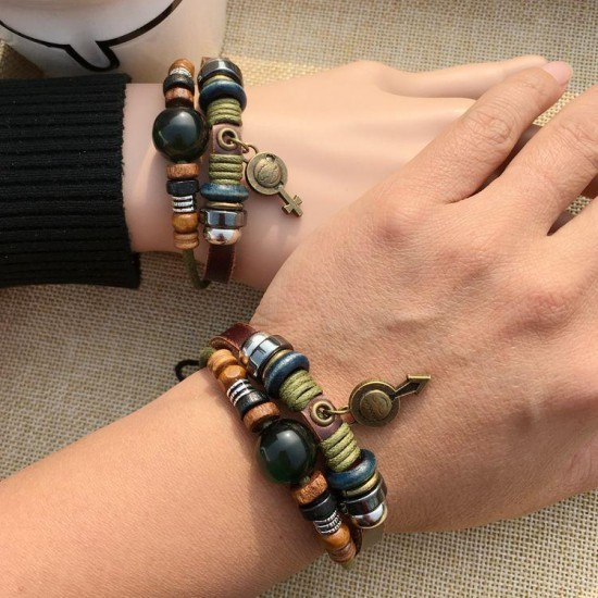 1 Pair of Fashion Beaded Bracelets Symbol Multilayer Leather Bracelet Love Matching Couple Jewelry