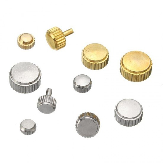 150pcs Mixed Silver Gold Watch Crown Watch Accessories Parts 10 Size Assortment Set