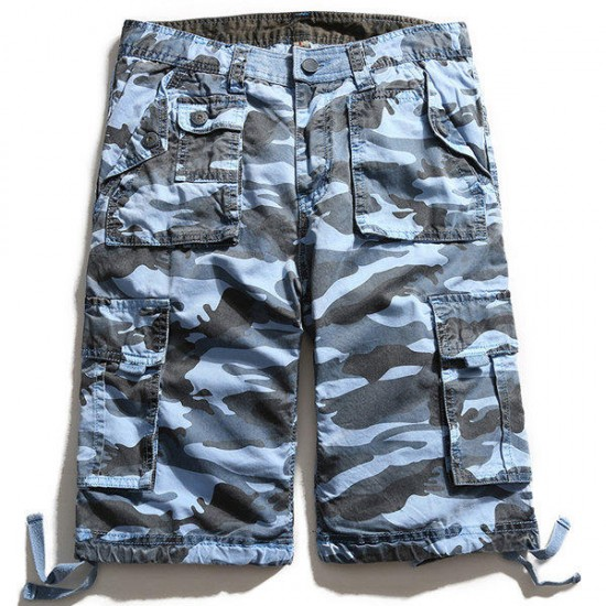 Camouflage Big Multi Pocket Summer Loose Cotton Cargo Shorts Size 30-40