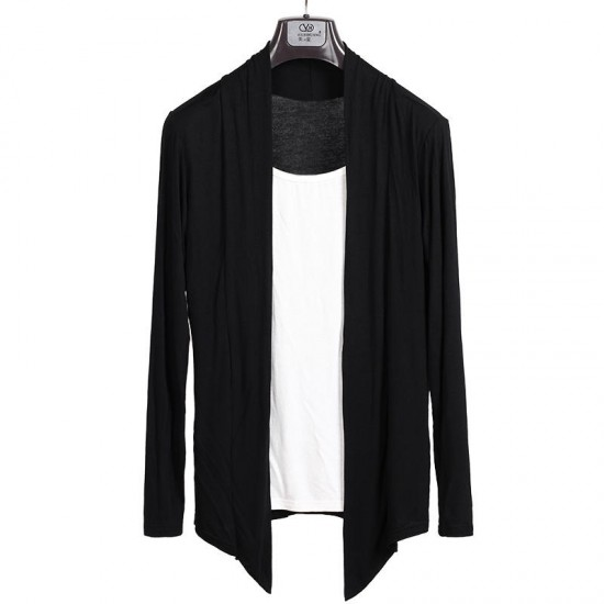 Casual Solid Color Long Sleeve Cardigans Cotton for Men