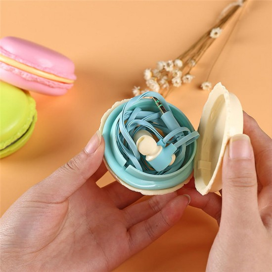 Portable Macaron Case Storage Box 3.5mm In-ear Earphone Headphone for iPhone X Samsung S7 S8 Xiaomi
