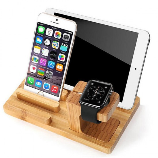 Multifunctional Bamboo Usb Charging Dock Phone Tablet