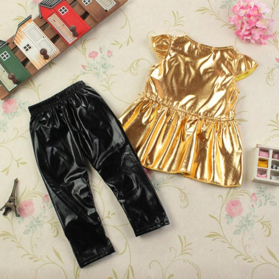 Fashion Cute Baby Girls Party Tops+Pants Suit