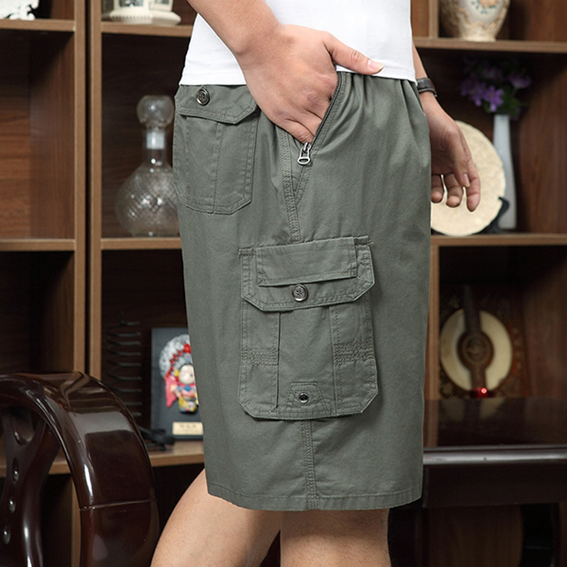 100-Cotton-Mens-Multi-Pocket-Knee-Length-Cargo-Pants-Breathable-Wrinkle-Resistant-Casual-Shorts-1295286