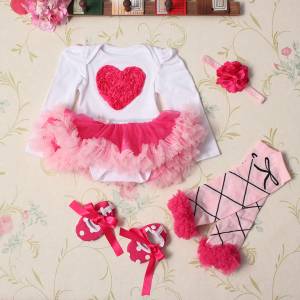 4Pcs-Baby-Girl-Headbrand-Romper-Skirt-Outfit-Shoes-Suit-Set-958847